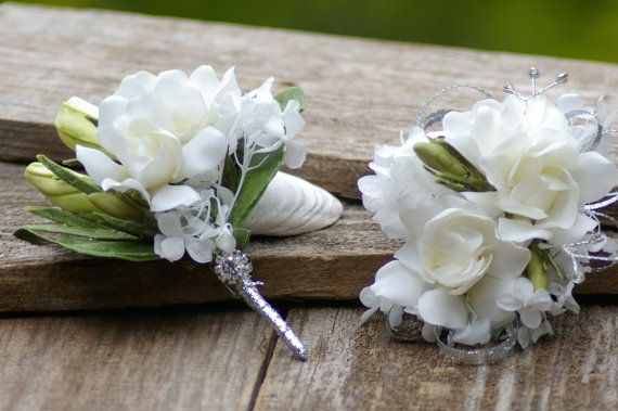 Real Touch Gardenia White Boutonniere Corsage by jcmArtandDesign