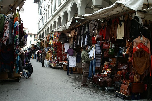 Outdoor leather markets in florence