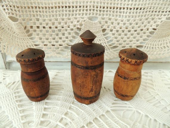 Vintage Wooden Containers for Spices Vintage Wooden Salt