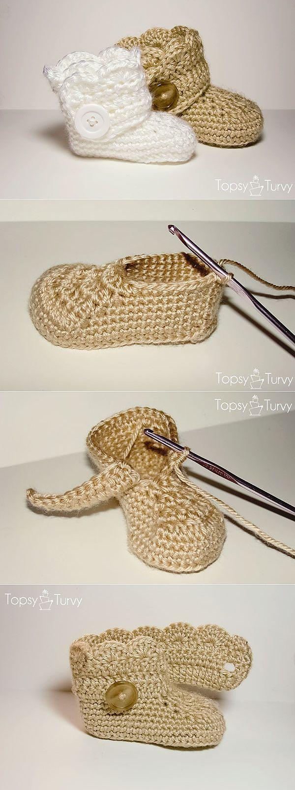 схема пинетки крючком сапожки с рюшами