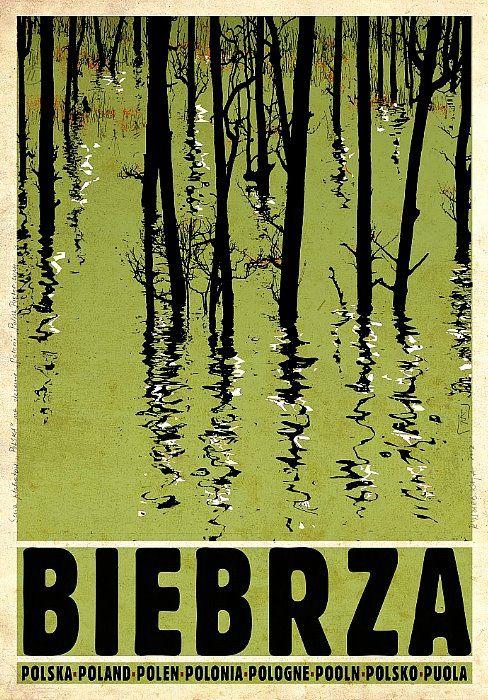 Water tree reflection - Polish Tourist Poster. Biebrza, Biebrzanski Park Narodowy. designer: Ryszard Kaja
