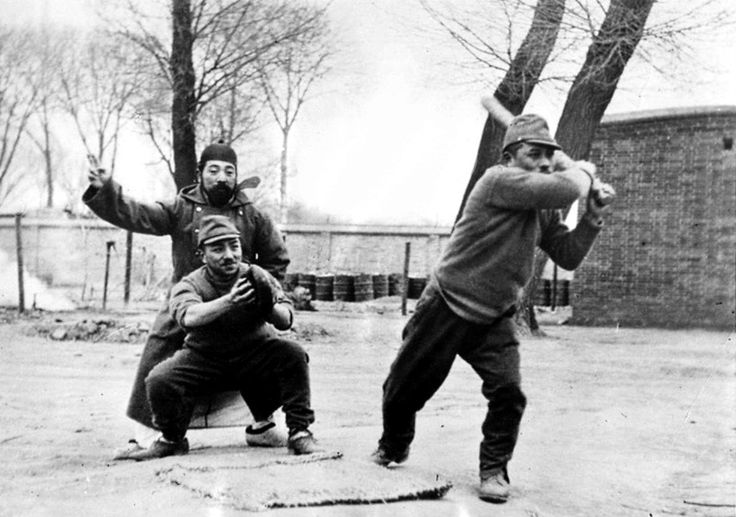 Imperial Japanese soldiers play a game of baseball after the capture of Beiping (Beijing). Beijing fell to Japan on 29 July 1937 and was made the seat of the Provisional Government of the Republic of China, a puppet state that ruled the ethnic...