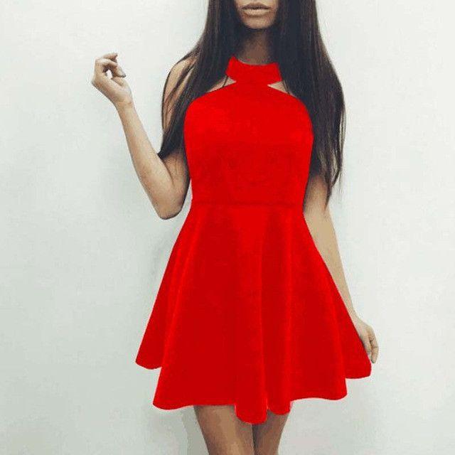 Sexy Backless O Neck Empire Sleeveless A-Line High Waist Mini Dress