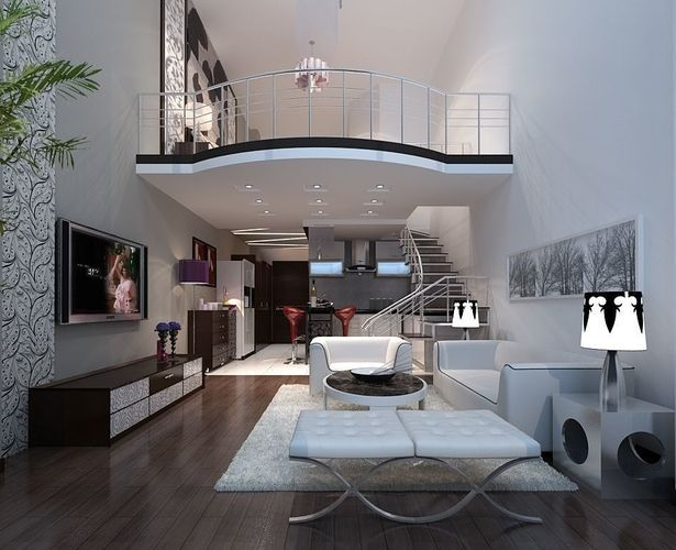 Modern Fashionable Double Living Room 1841 3d Model Max 2 Loft