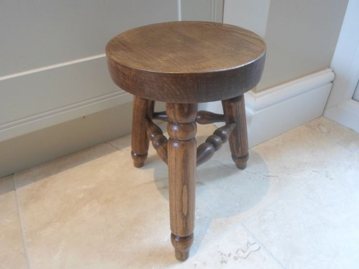 Vintage French round 3 legged milking stool, plant stand
