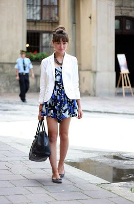 White Blazer Outfit with a cute navy dress