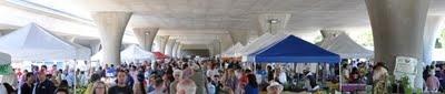 Sunday farmers market under the freeway