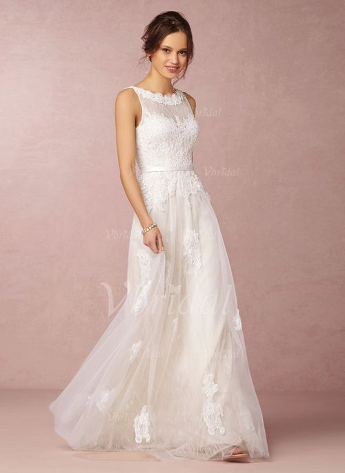 Brautkleider - $164.45 - A-Linie/Princess-Linie U-Ausschnitt Bodenlang Tüll Spitze Brautkleid mit Perlenstickerei Applikationen Spitze (0025059988)
