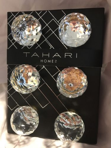 Tosimply Tahari Crystal Cut Gl Round Faceted Drawer Cabinet S Pulls Set Of 6