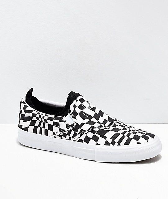 94d13cbc8 Diamond Supply Co. Boo-J XL Black & White Slip-On Skate Shoes ...