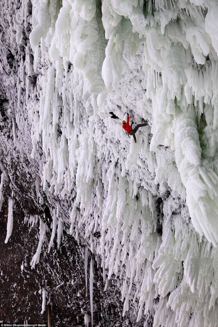 While most of the frozen waterfalls around the world are incredible enough to just visit, many of them are also popular destinations for daredevils that want to try their hand at ice climbing.