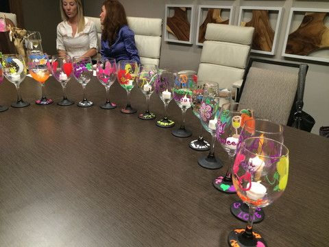 Want to host a great Ladies' Night Out- try a Wine Glass Decorating Party.  It's a great way to have fun crafting while sharing stories and laughs.  Recently, I helped host a party for a group of wonderful women.  We all had fun creating our own unique pieces using Artisan's Effect Chalk Markers.