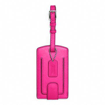 pink coach luggage tag