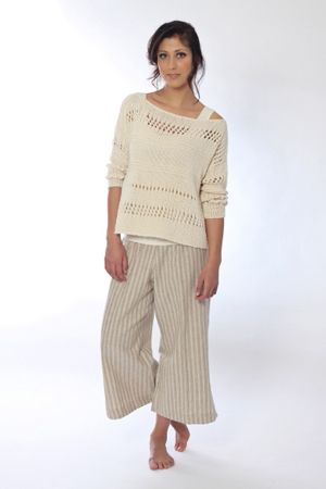 Casual and chic is The Cupboard's cotton hand knit sweater worn over our must have, basic singlet. Team them up with Deanna, our cropped linen pant, and feel the comfort.