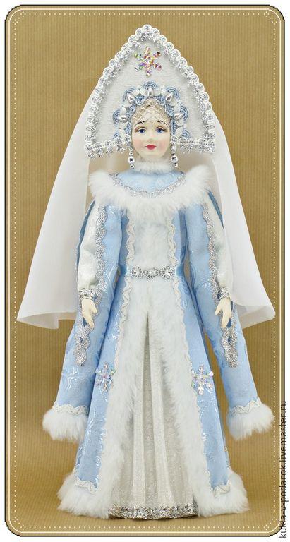 Кукла ручной работы недорогой подарок на Новый Год и Рождество. Куклы Дед Мороз и Снегурочка ручной работы. Кукла Снегурочка в русском стиле. Бело голубой handmade Ярмарка мастеров