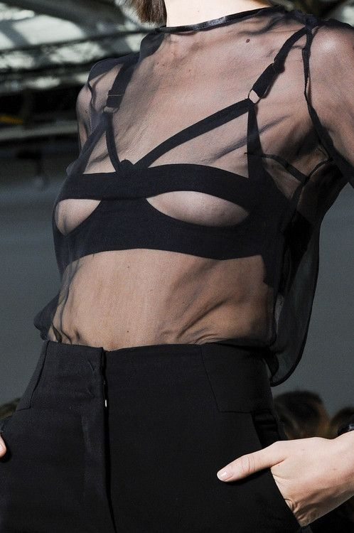 Transparency - sheer black top with banded triangle bra; fashion details // Costume National SS13