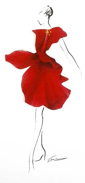 Playing around... pen + paper flowers = instant dress.