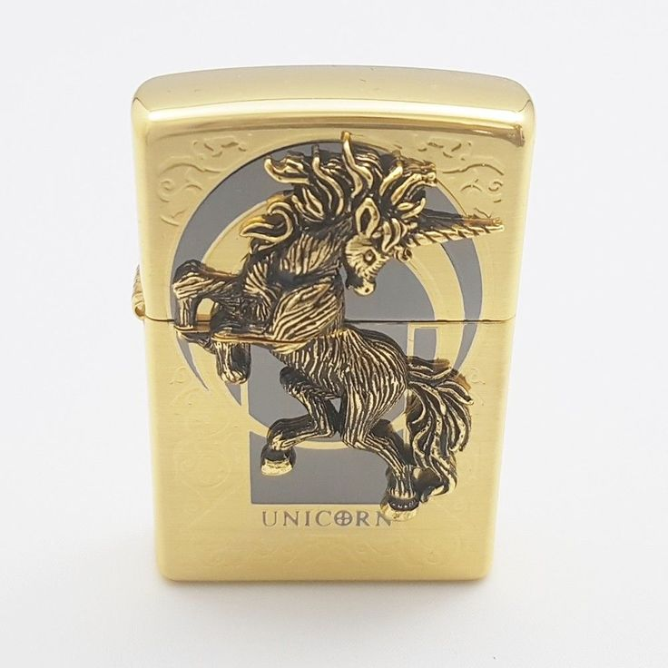 Zippo Original Lighter Unicorn Gold Authentic Windproof Made in USA Gift 6Flints #Zippo