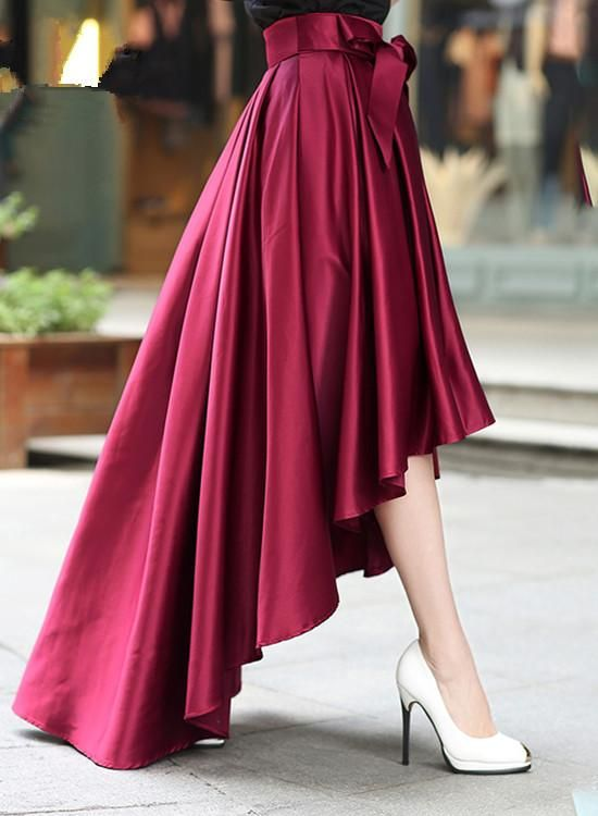 Women High Low Skirt with Belt, Burgundy Skirt, Women Skirts 2018,#skirt,#highlowskirt
