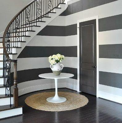 Modern Striped Wallpaper Hallway - Modern Interior Design