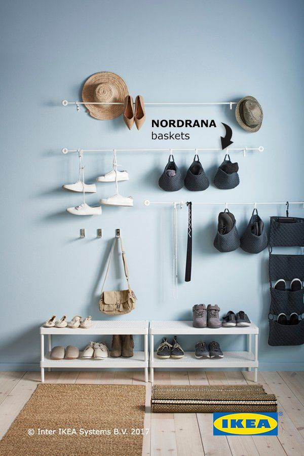 Convert unused space into storage space with IKEA NORDRANA baskets. These versatile hanging storage baskets are perfect for accessories, mail or anything else you want on hand.