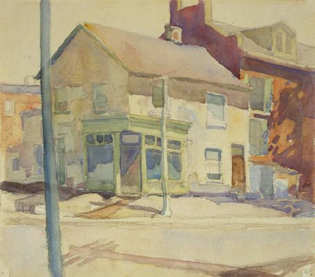 Artist: Franklin Carmichael, Title: STORES - 9 x 10.25 watercolour (1924)