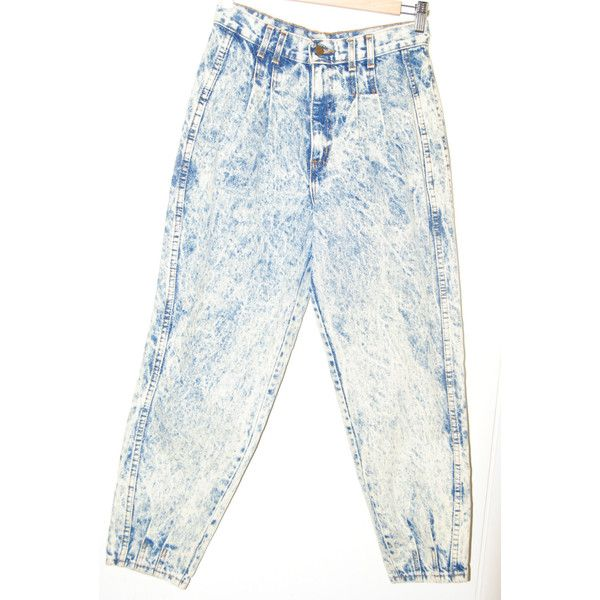 1980's White Acid Wash Jeans ($24) ❤ liked on Polyvore featuring jeans, white acid wash jeans, petite white jeans, tapered jeans, vintage acid wash jeans and acid wash jeans