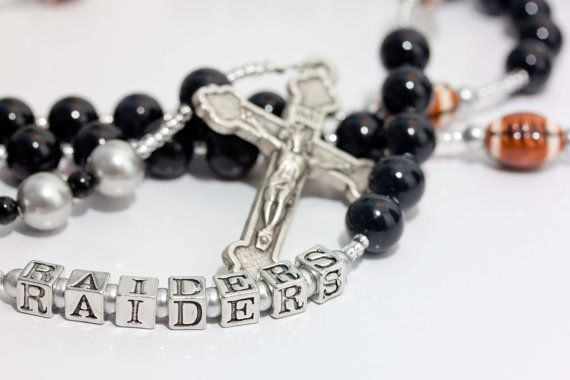 Hey, I found this really awesome Etsy listing at https://www.etsy.com/listing/86426118/oakland-raiders-football-rosary