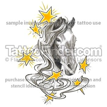 Star Struck'n Horse Back Riding tattoo design by George
