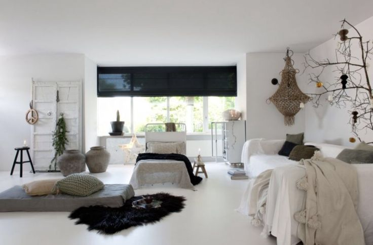 """This white-based living room is from our feature """"December Fun"""""""