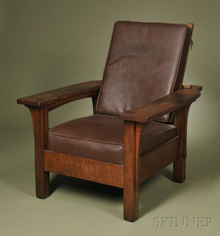 Arts & Crafts Paddle-arm Morris Chair  Oak and simulated leather  United States, early 20th century