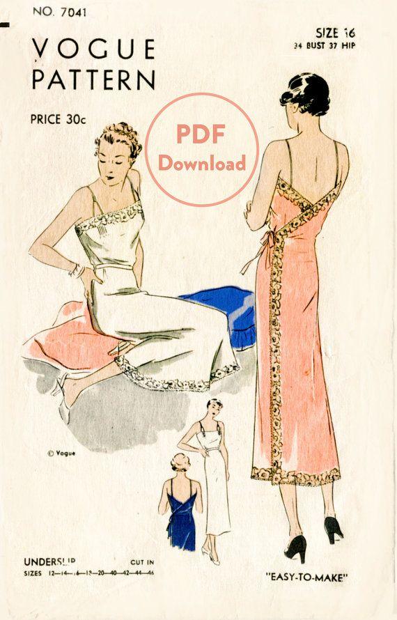 années 1930 des années 30 lingerie vintage couture motif dentelle wrap dress slip déshabillé buste 34 b34 téléchargement immédiat