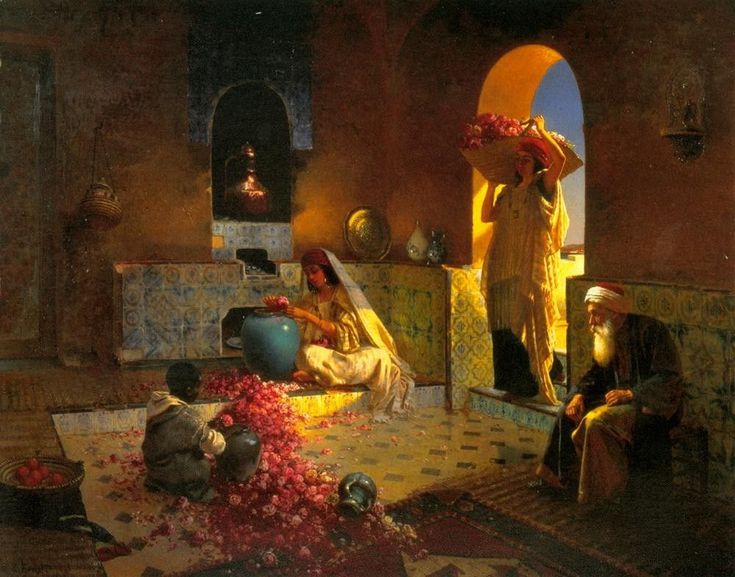 Rudolf Ernst, The Perfume Maker, 1854-1932. We see here women and child at work, quite often the case the case in an orientalist painting. Again the rich colours and typical clothing is present.
