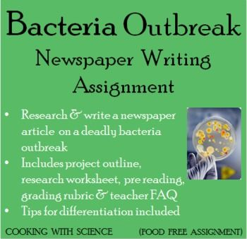 Flesh eating bacteria consumes a girl's hand. A cholera outbreak kills thirty people in a rural town. Salmonella poisoning sends a family to the hospital. Bacteria are powerful (and helpful) microbes that live everywhere. In this assignment your students will research a deadly bacteria and write a fake newspaper article about an outbreak of the disease. Students will love to learn about the world's most deadly bacteria and take on the role of a scientific reporter.