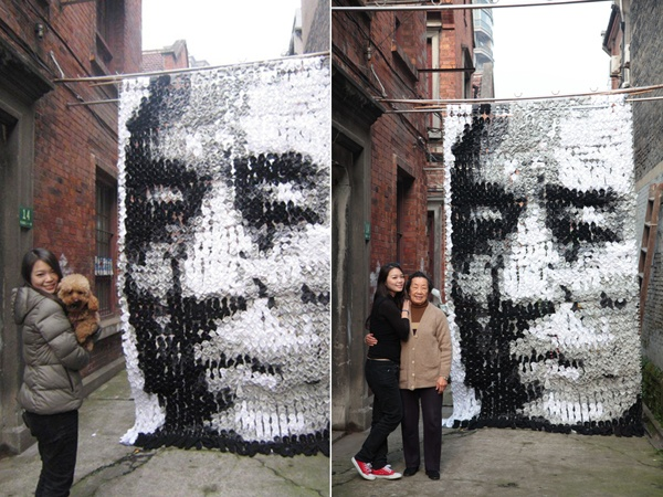 Portrait Made With 750 Pairs of Socks: 750 Pairings, Bamboo Sticks, Creative Art, Lost Socks, Portraits Art Made Of Socks 9, Sticks Pin, 750 Socks, Art Pieces, Zhang Yimou