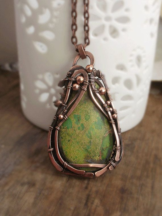 Wire Wrapped necklace with green gemstone  by ChervoniKoraliArt