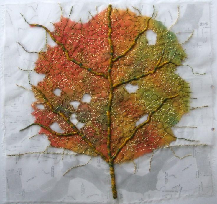 silk organza, print, stitch.  Leaf by Ailie Snow