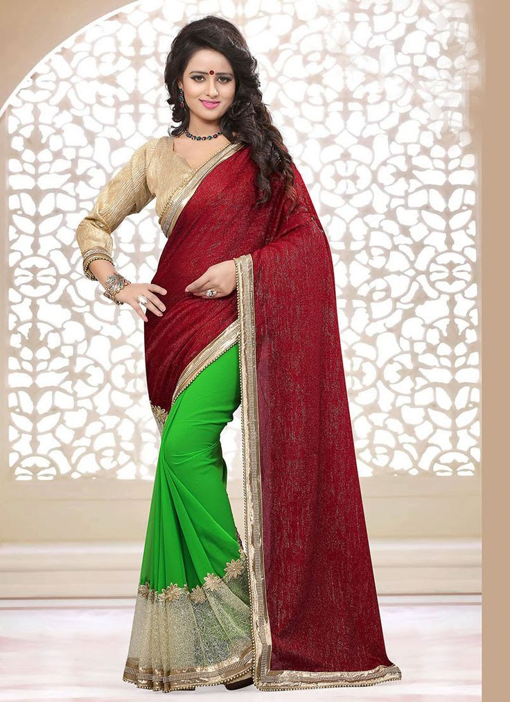 Maroon,#Green Velvet, Georgette #Half N Half #Saree #nikvik  #usa #designer #australia #canada #freeshipping #fashion #dress #sarees #sale
