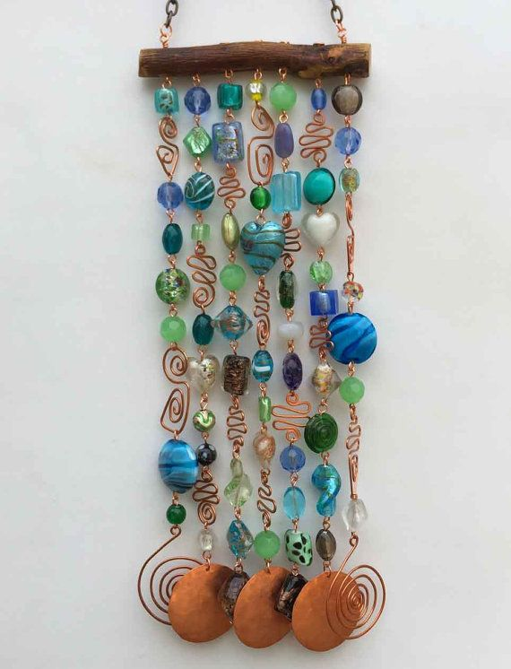 Wind Chime and Suncatcher with Glass Beads and by LTreatDesigns
