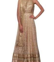 Buy Beige embroidered net semi stitched salwar with dupatta anarkali-salwar-kameez online