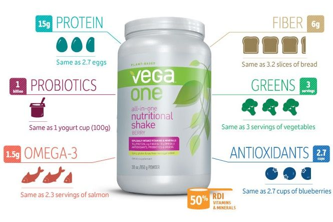 Dairy-Free Nutritional / Meal Replacement Shake: Tasty Vega One Nutritional Shakes are packed with dairy-free protein, vitamins, minerals, probiotics, prebiotics, greens, digestive enzymes, and Omega 3s.