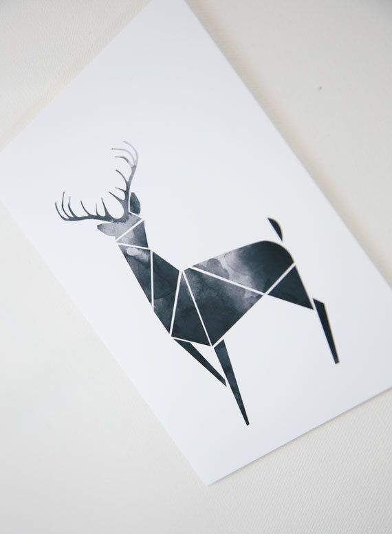 Black Geometric Art Modern Deer decor Poster Antler print Triangle Wartatercolor…
