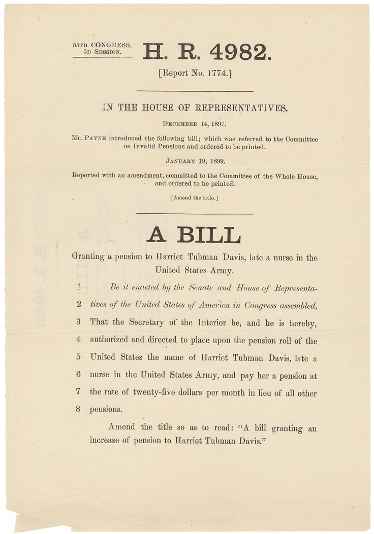Lesson Plan:  Congress and Harriet Tubman's Claim for a Pension (National Archives)