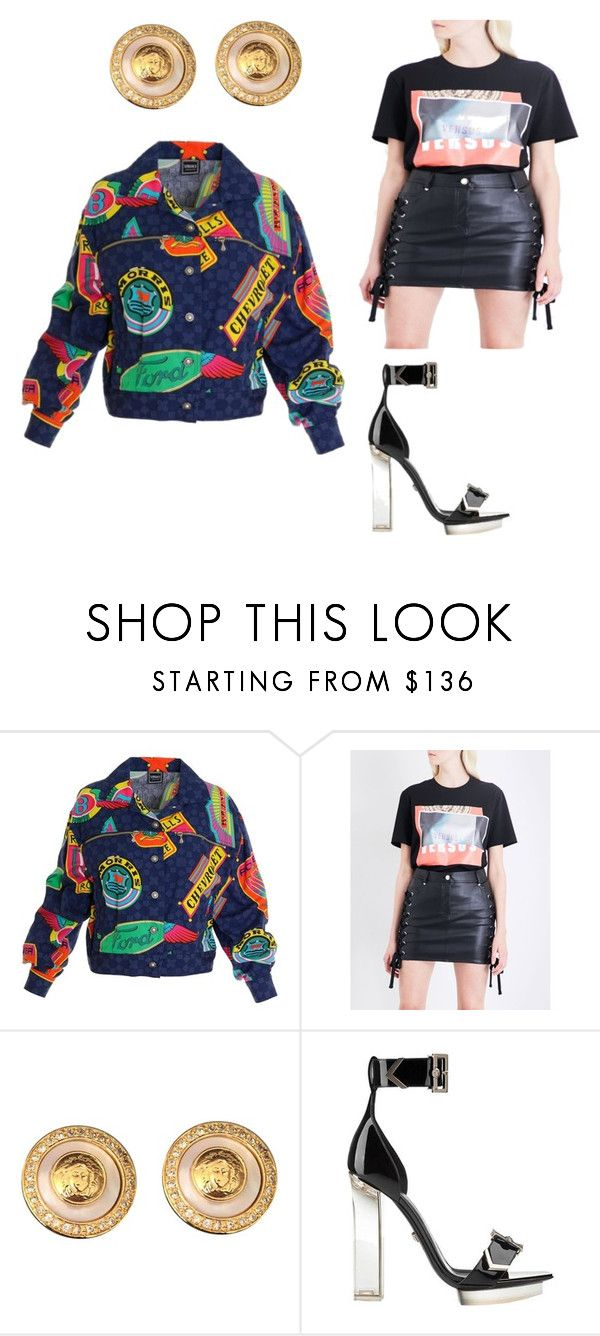 """""""Versace Versace."""" by dailyglam ❤ liked on Polyvore featuring Versace Jeans Couture, Versus, Versace, versace, designer, fashionstylist and VogueMagazine"""