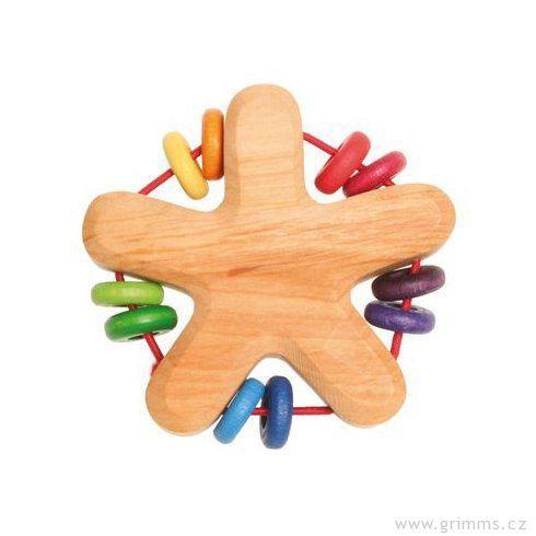 Grimm's dřevěné chrastítko hvězda sbarevnými kroužky