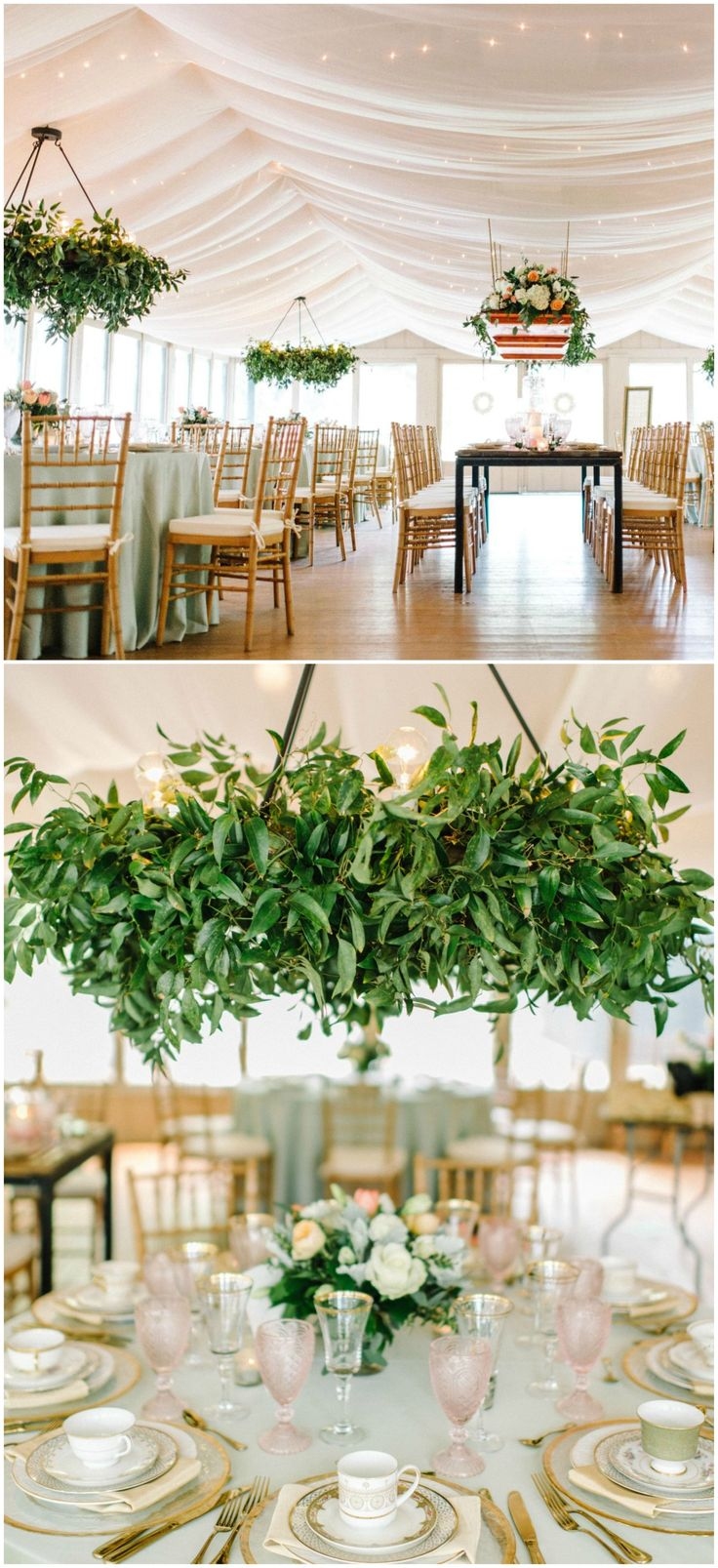 Hanging centerpiece, greenery, white draped fabric, twinkling ceiling lights, mismatched teacups, wedding reception ideas // Sean Money + Elizabeth Fay
