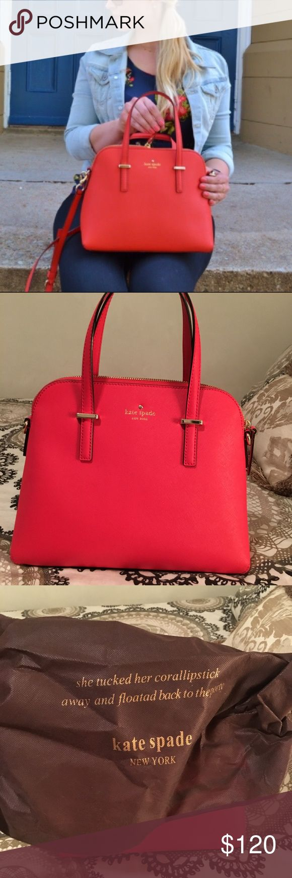 "EUC Kate Spade Cedar Street Maise handbag Gorgeous. Only used once. Comes with original dust bag and shoulder strap. Color is ""geranium,"" it's like a red to deep pink color. Stunning! kate spade Bags Satchels"
