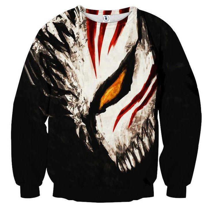 Bleach ichigo face mask art drawing streetwear sweatshirt