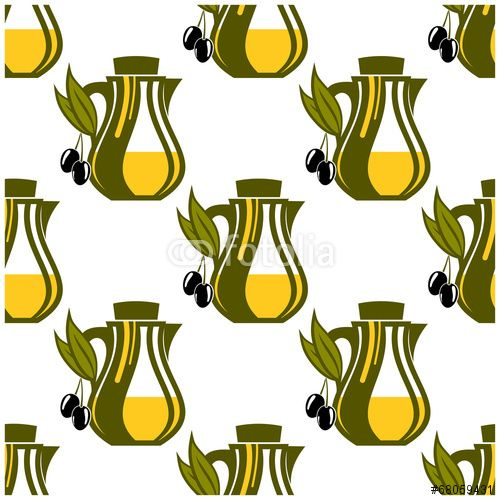 Вектор: Seamless pattern of olive oil decanters
