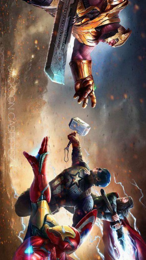 Thanos vs Avengers Endgame Battle iPhone Wallpaper